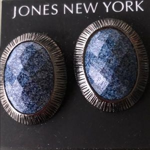 JONES NEW YORK BLUE GRANITE CLIP EARRINGS